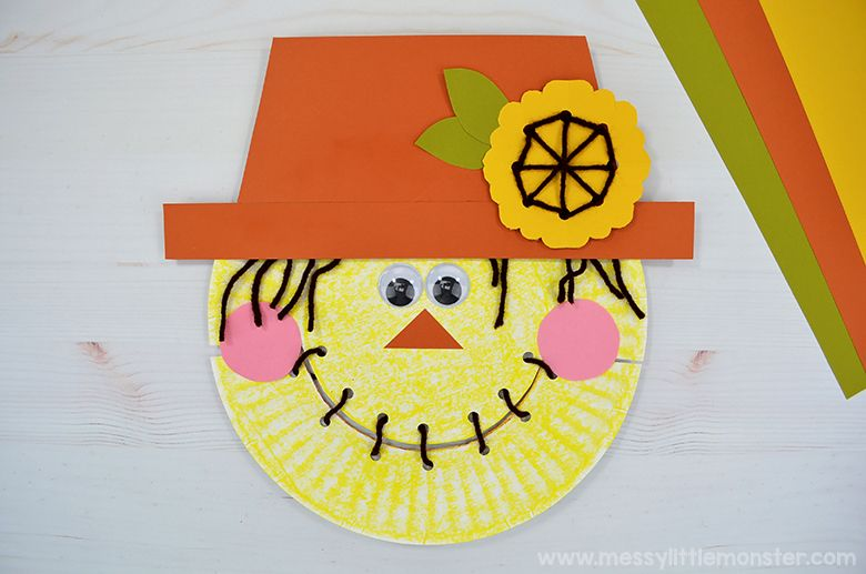 paper plate scarecrow autumn craft for kids
