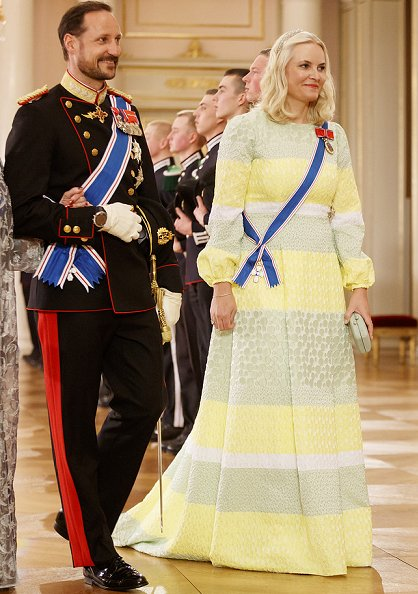King Harald and Queen Sonja, Crown Prince Haakon, Crown Princess Mette-Marit and Princess Astrid at a gala dinner for Gudni Johannesson