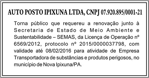 PUBLICAÇÃO - AUTO POSTO IPIXUNA LTDA