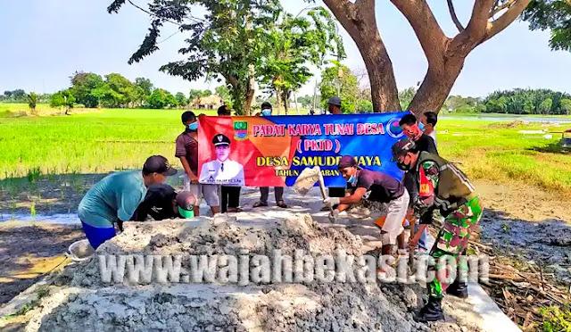Desa Samudrajaya Perbaiki Jalan Lingkungan Manfaatkan Program Padat Karya Tunai