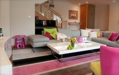 chic home idea modern youth living room in grey pink and lime green