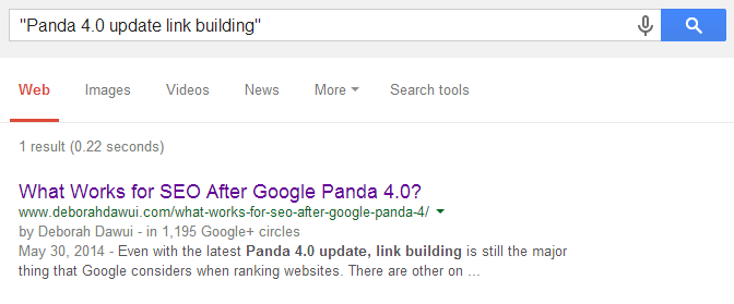 Panda 4.0 update link building without quotes