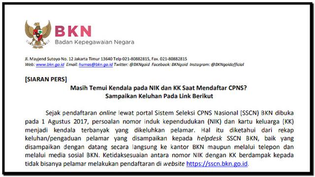 Masih ada Kendala pada NIK dan KK Saat Mendaftar CPNS? Sampaikan Keluhan Pada Link Berikut