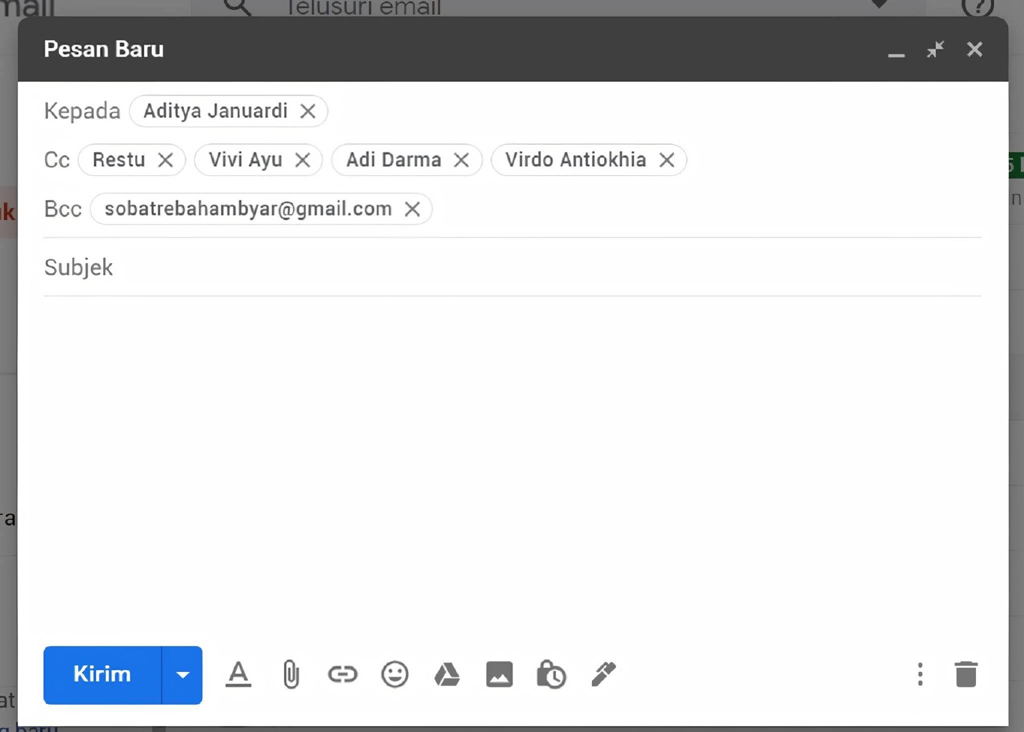 Penjelasan CC dan BCC dalam Email Serta Contoh Penggunaanya