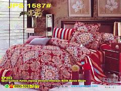 Sprei Custom Katun Jepang Dewasa Ornamen Batik Merah Marun