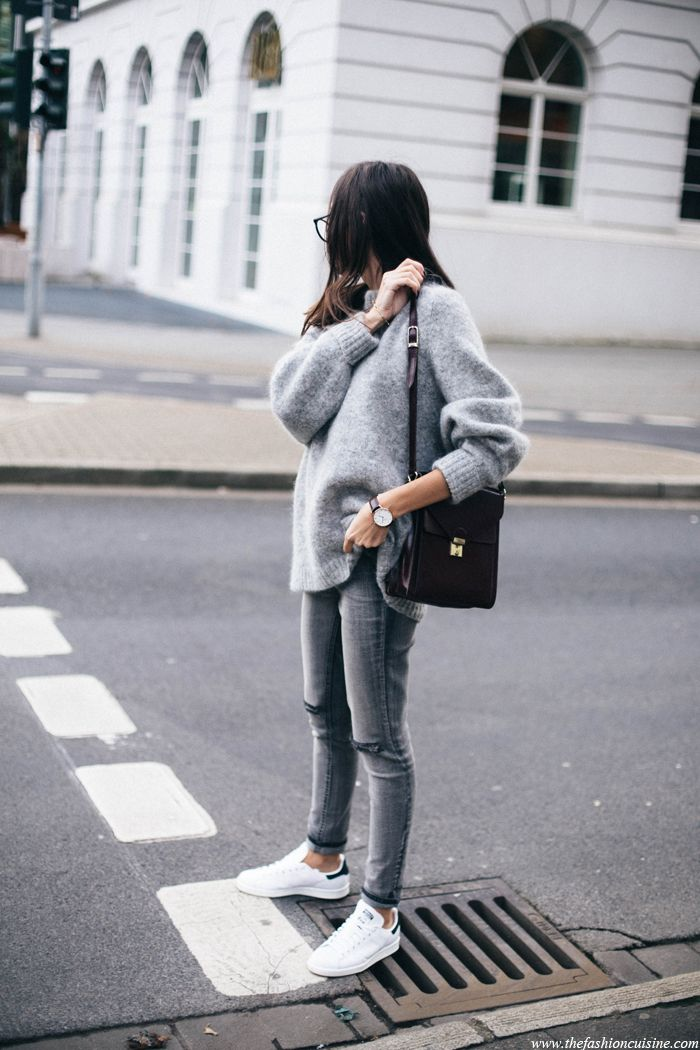 Fashion Cuisine - Grey Knit, Grey Jeans, Stan Smith Adidas Sneakers