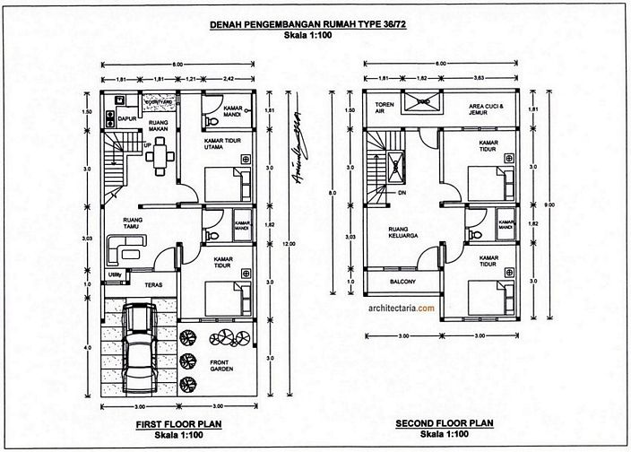 denah rumah minimalis 2 lantai type 36 yang kreatif
