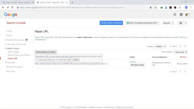 Cara Menghapus URL Blog di Google