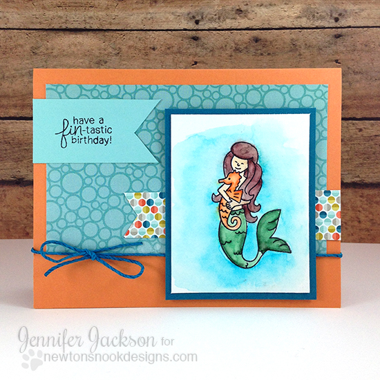 Mermaid Birthday Card by Jennifer Jackson | Mermaid Crossing Stamp set by Newton's Nook Designs #newtonsnook #mermaid