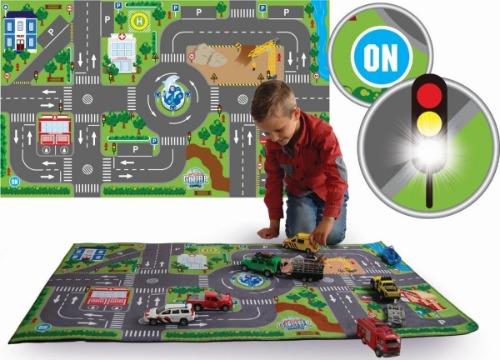 Kids Globe verkeerstapijt met led stoplichten