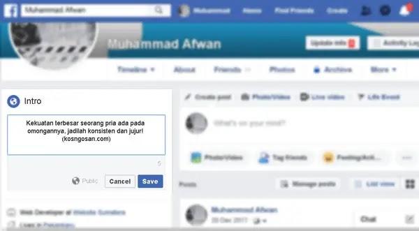 kata bio facebook keren
