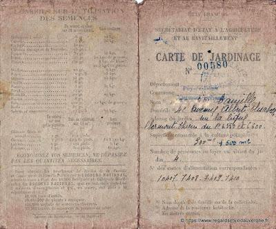 Carte de jardinage 1942 clermont-ferrand