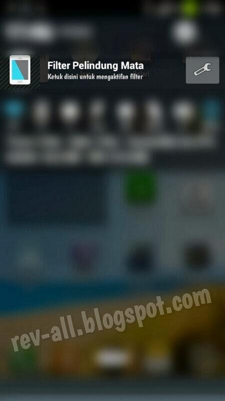 Tapilan di notifikasi Bluelight Filter for eye Care versi Free - filter pelindung mata untuk meredupkan layar android di malam hari (rev-all.blogspot.com)