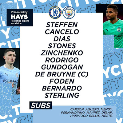 Line Up Chelsea vs Manchester City