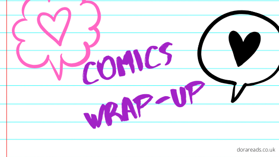 'Comics Wrap-Up' on a notebook-lined background with speech bubbles containing heart symbols
