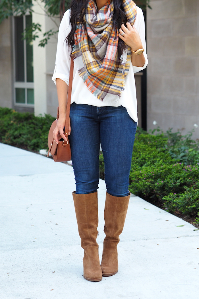 Jeans + White Blouse + Blanket Scarf