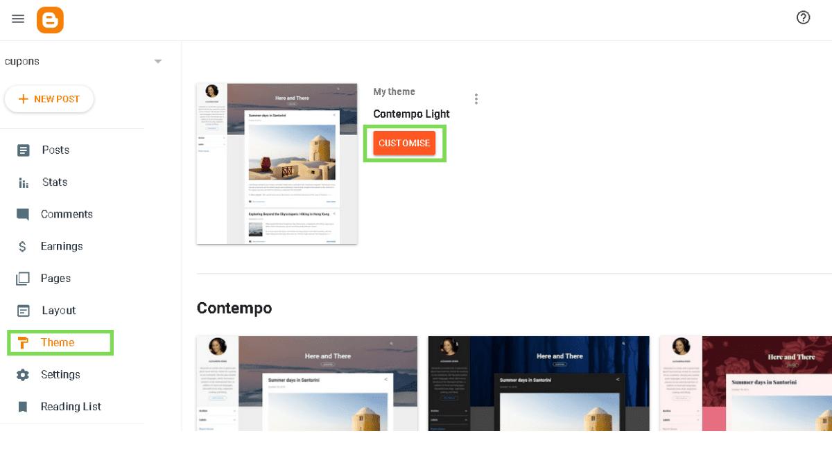 Blogger theme customization