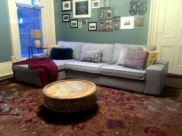 historic mansion rehab and remodeling project with Ikea sectional