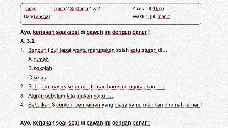 Soal Penilaian Kelas 2 Tema 2 Subtema 1 dan 2 + Kunci Jawaban