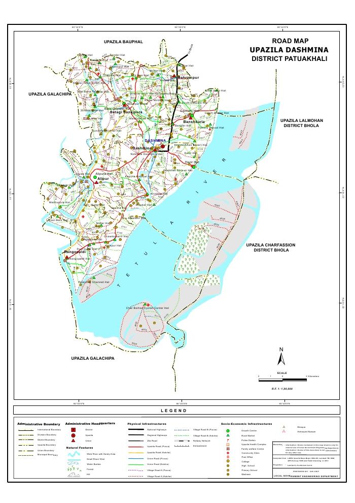 Dashmina Upazila Road Map Patuakhali District Bangladesh