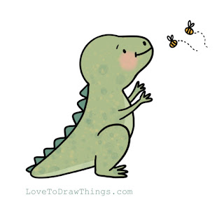 Easy dinosaur to draw. Easy things to draw. Beginners drawing tutorial