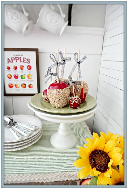cottage farmhouse style fall decor-faux candy apples-From My Front Porch To Yours