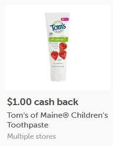 $1.00/1 Tom's of Maine Kid's Silly Strawberry Toothpaste ibotta cash back rebate *HERE*