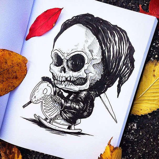 22-Grim-Reaper-Alex-Solis-Baby-Terrors-Drawings-Horror-Movie-Villains-www-designstack-co