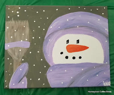 Painted Snowmen on the Virtual Refrigerator  - share your art posts on our Virtual Refrigerator - an art link-up hosted by Homeschool Coffee Break @ kympossibleblog.blogspot.com