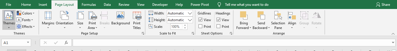 Page Layout Tab Excel