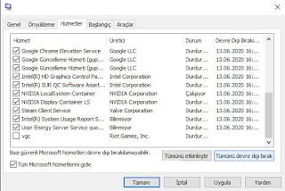 windows hizmetler