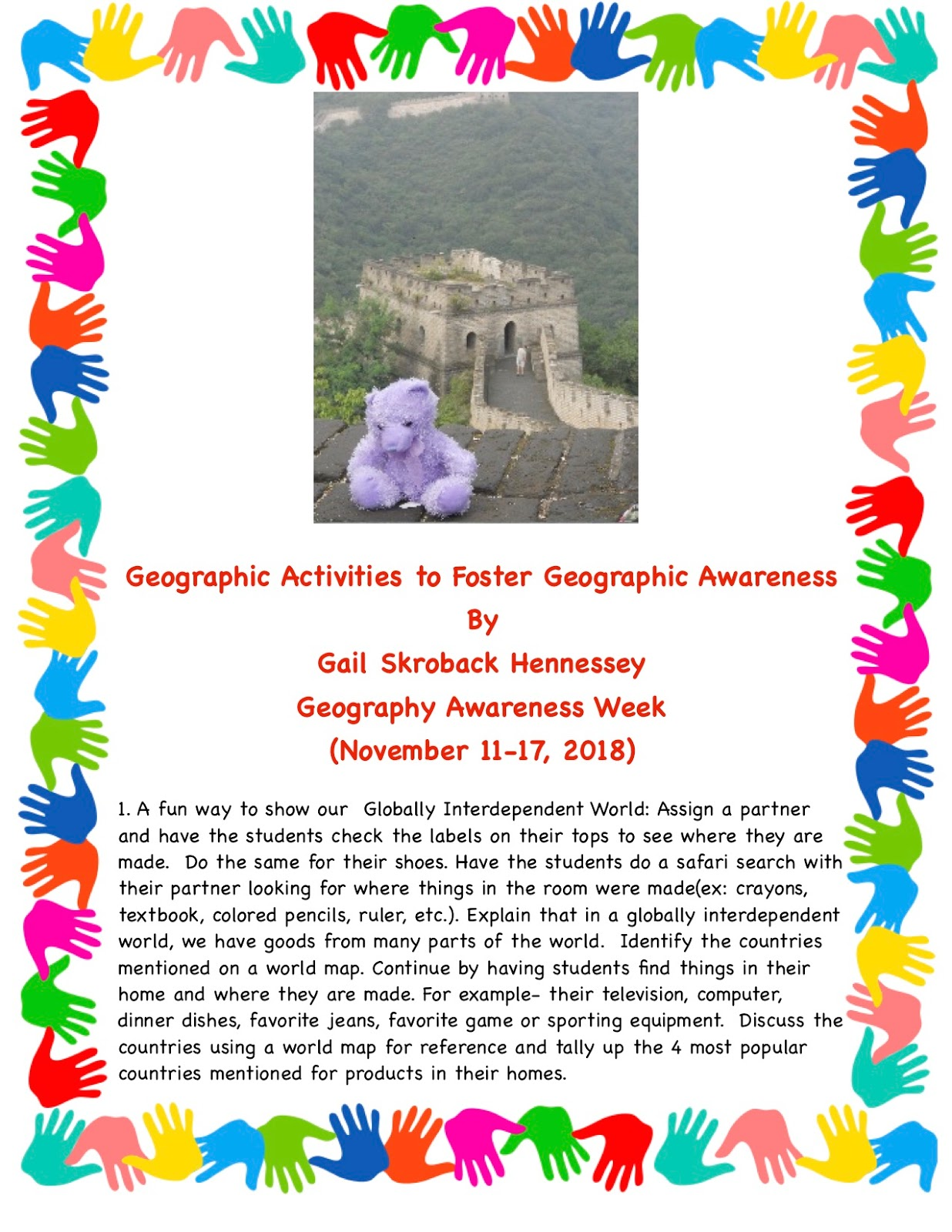 Geography Awareness Week - Activities to Use with Students