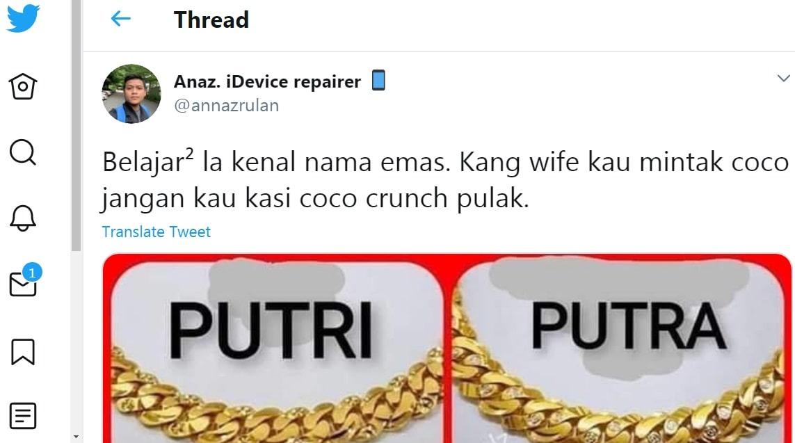 nama emas gelang tangan rantai pulut dakap popular