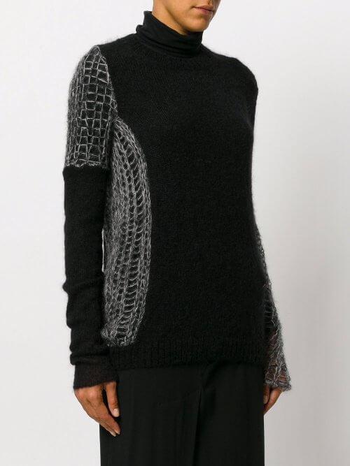 Long Net Sleeve Wool Blend Sweater in Black