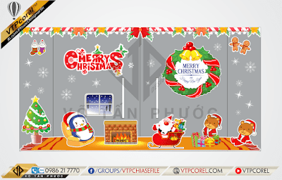 Bộ decal cửa kính Noel - Merry christmas CorelDRAW