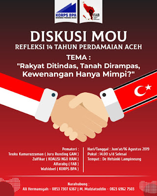 Diskusi MOU - Refleksi 14 Tahun Perdamaian Aceh