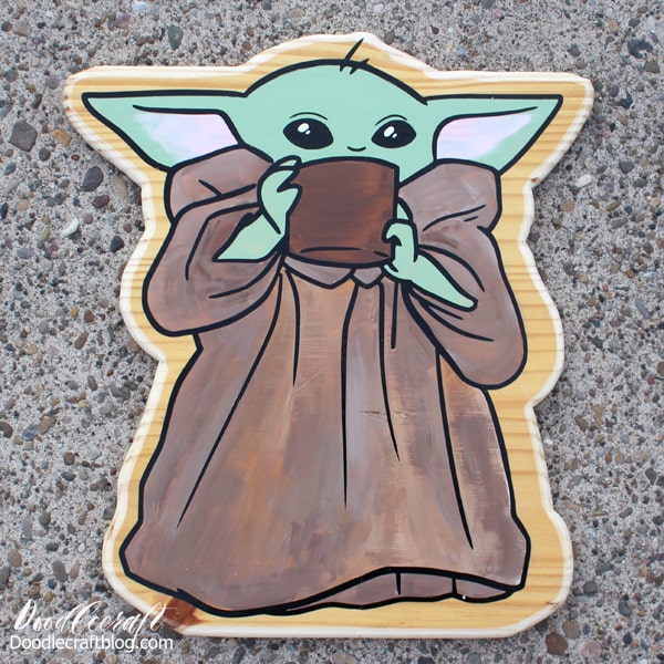 Make a Baby Yoda from the Star Wars series the Mandalorian out of wood, Cricut machine, vinyl and acrylic paint. Perfect for parties, crafts, cosplay and home decor!
