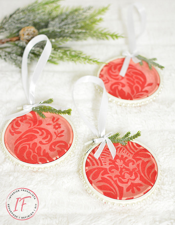 Elegant Pearl and Organza DIY Embroidery Hoop Ornaments from a recycled damask table runner and small embroidery hoops - pretty red tree decorations!