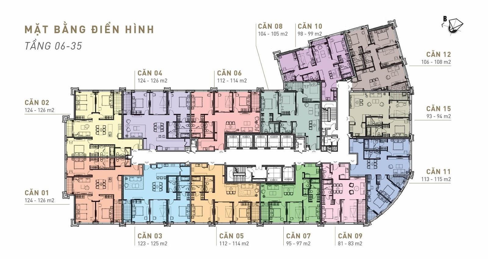 Mặt bằng điển hình King Palace - Tầng 06 - 35
