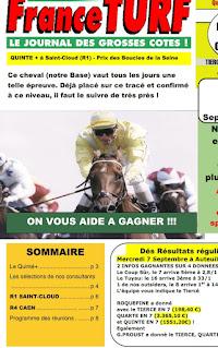 Pronostic quinté pmu samedi Paris-Turf TV-100 % 18/09/2021