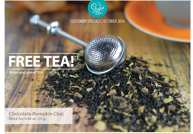 Free Tea when you spend $50 in October 2016