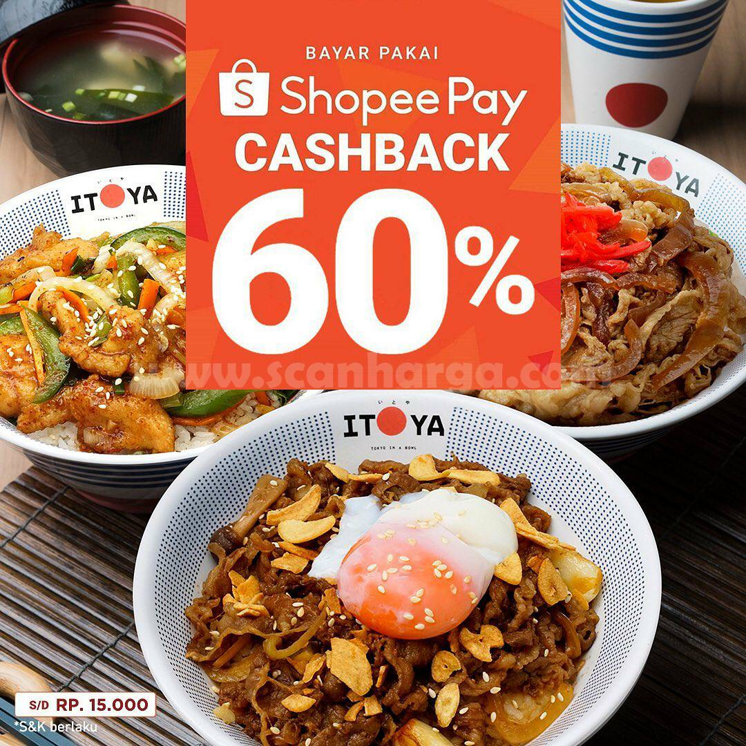 Promo Itoya Donburi Cashback 60% dengan Shopeepay