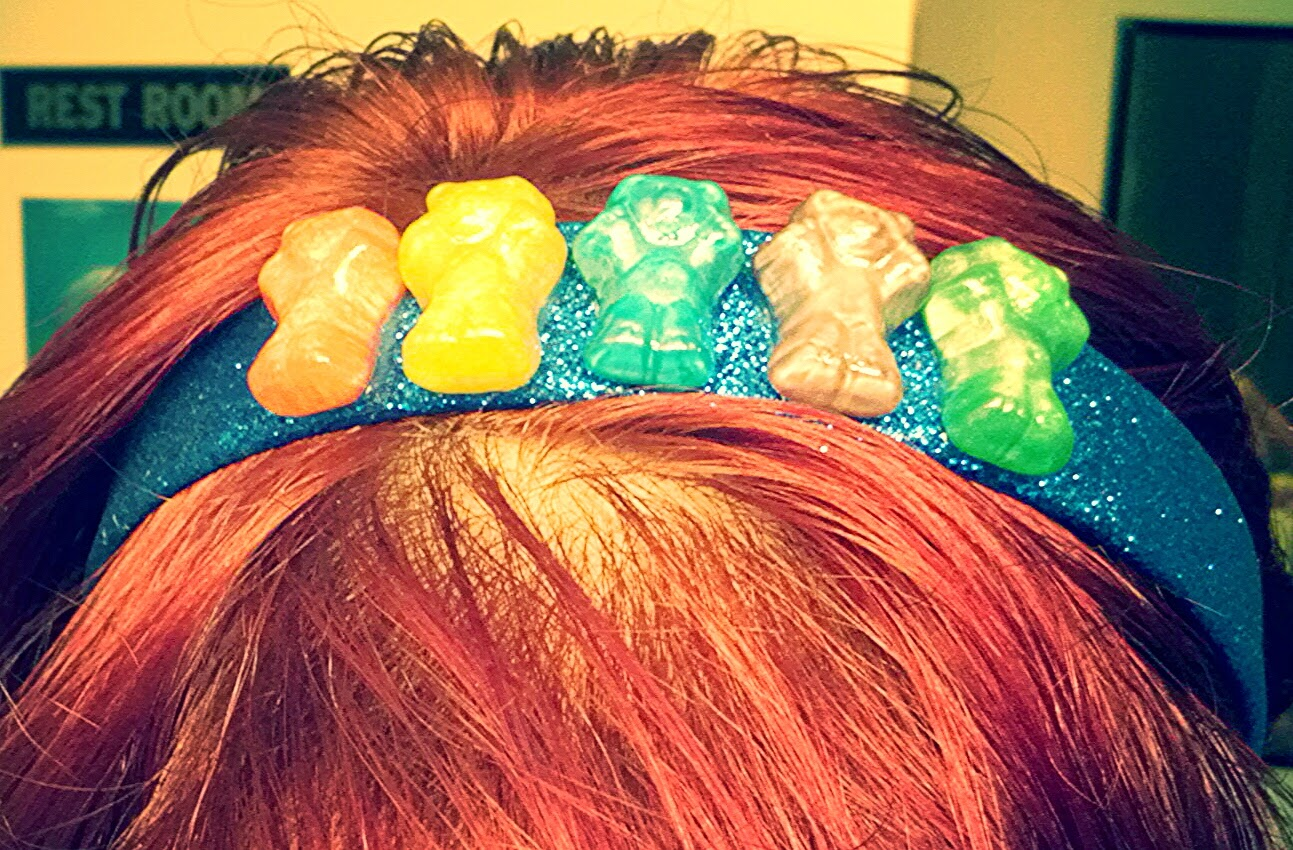 Wearing Metallic Gummy Bear Headband