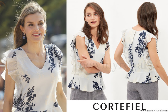 Queen Letizia wore CORTEFIEL Sleeveless Printed Blouse