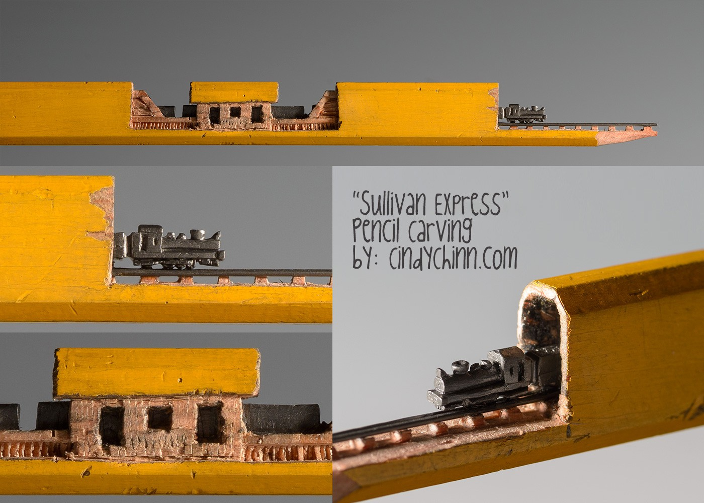 14-Sullivan-Express-Train-Cindy-Chinn-Miniature-Carvings-of-Pencil-Graphite-www-designstack-co