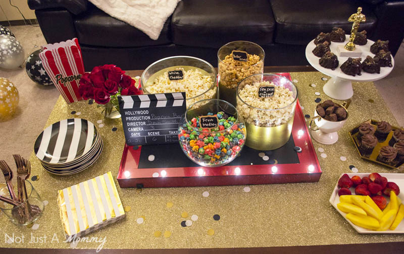 How To Host A Girls' Oscar Night Out Viewing Party; have a popcorn bar