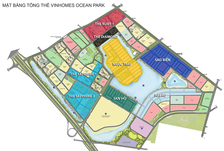 Mặt bằng phân khu Vinhomes Ocean Park Gia Lâm