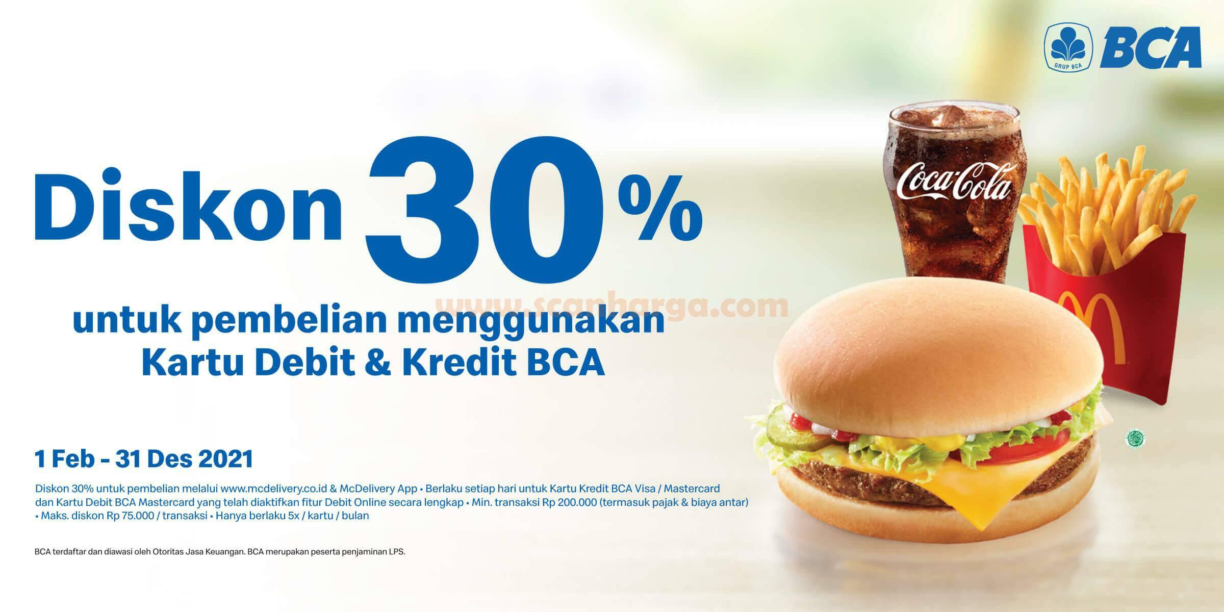 McDonalds Promo Diskon 30% dengan Kartu Debit BCA berlogo Visa/Mastercard