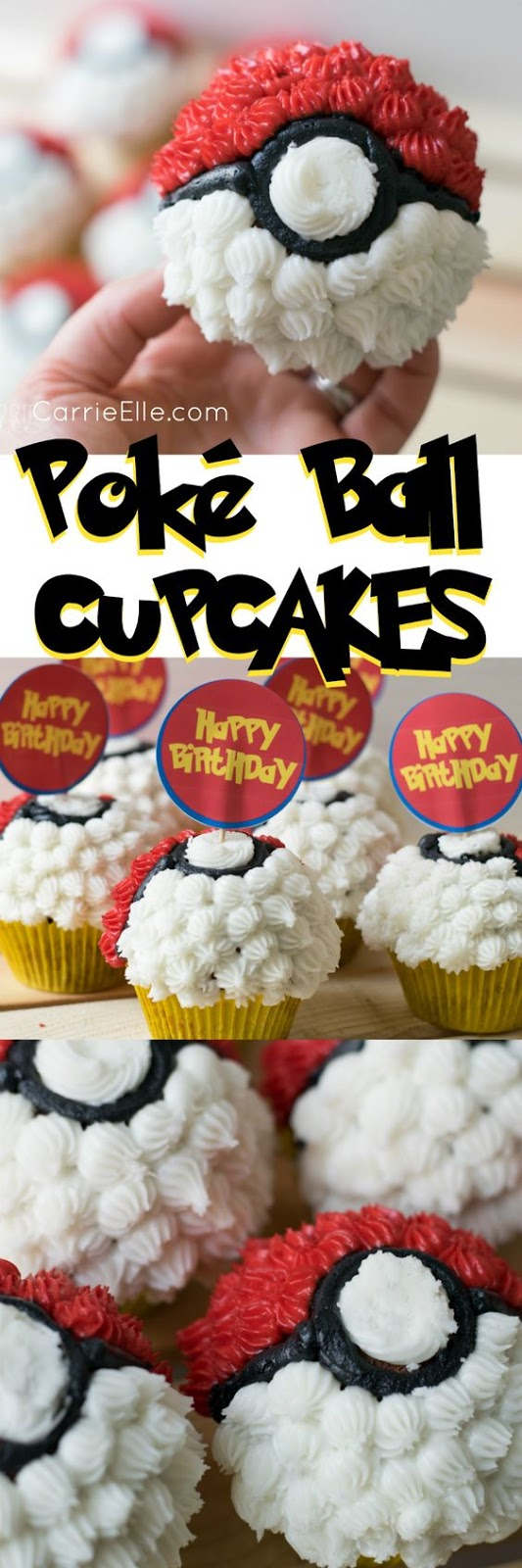 picture relating to Pokemon Cupcake Toppers Printable identified as Uncomplicated Pokemon Ball Cupcakes and Printable Pokemon Cupcake