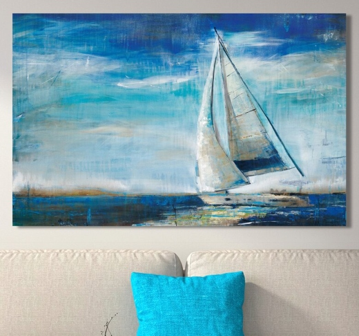 Sail Away Sailing Yacht Ocean Art Canvas Wall Decor Idea